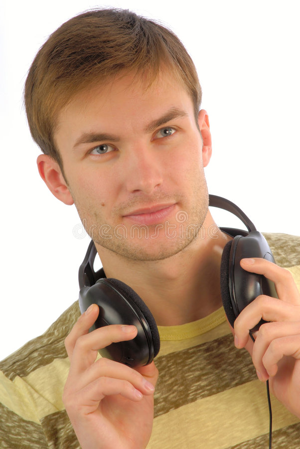 Young guy headphones music stock photography