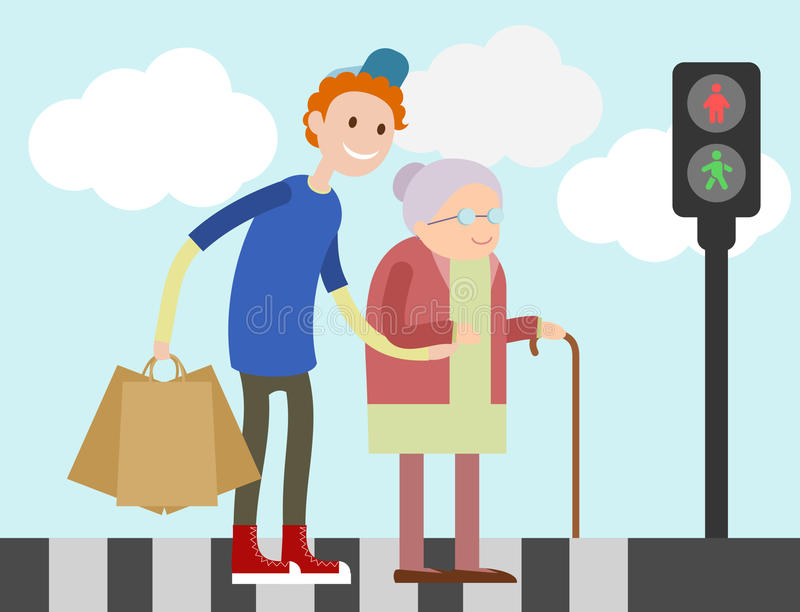 Young guy helps old woman to cross road stock photography