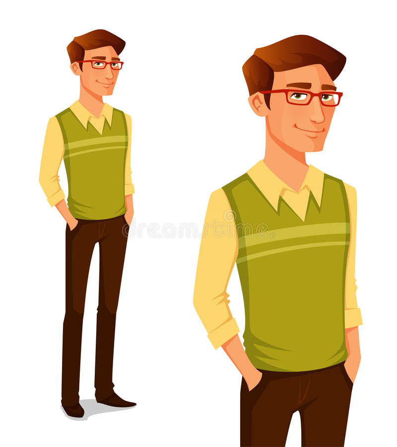 Young guy in hipster fashion royalty free illustration