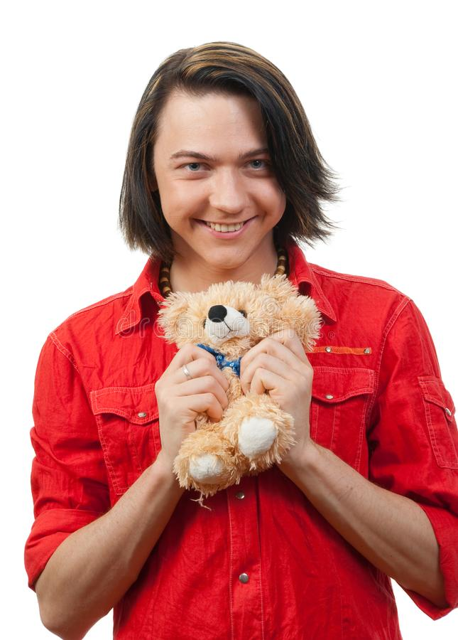 Download Young Guy With His Loved Toy Stock Photo - Image of gift, first: 9893192