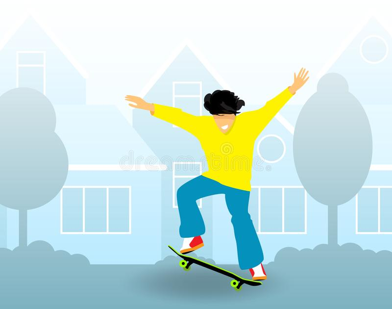 Young guy rides on skateboard on city streets. Flat design. Vector royalty free illustration