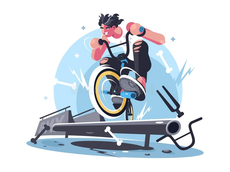 Young guy riding bicycle bmx. On sport playground. Vector illustration stock illustration