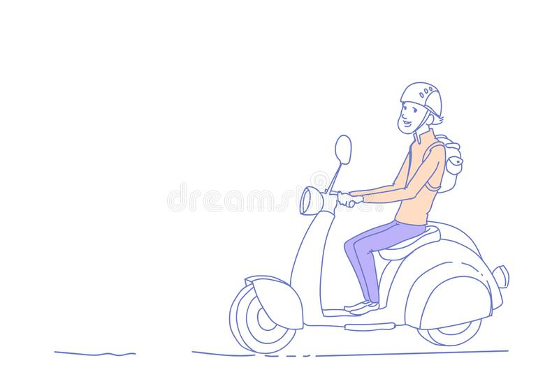 Young guy riding electric scooter vintage motorcycle isolated man character sketch doodle horizontal stock illustration