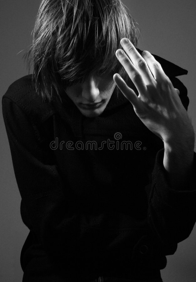 Young guy in trench royalty free stock image