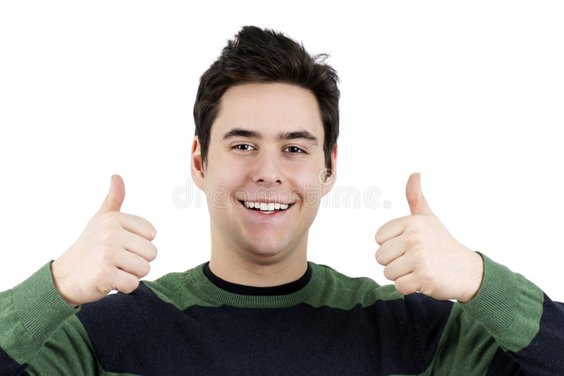 Young Guy With Two Thumbs Up Stock Photo