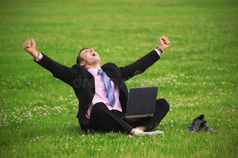 Download Young guy is working stock photo. Image of relax, computers - 11317322