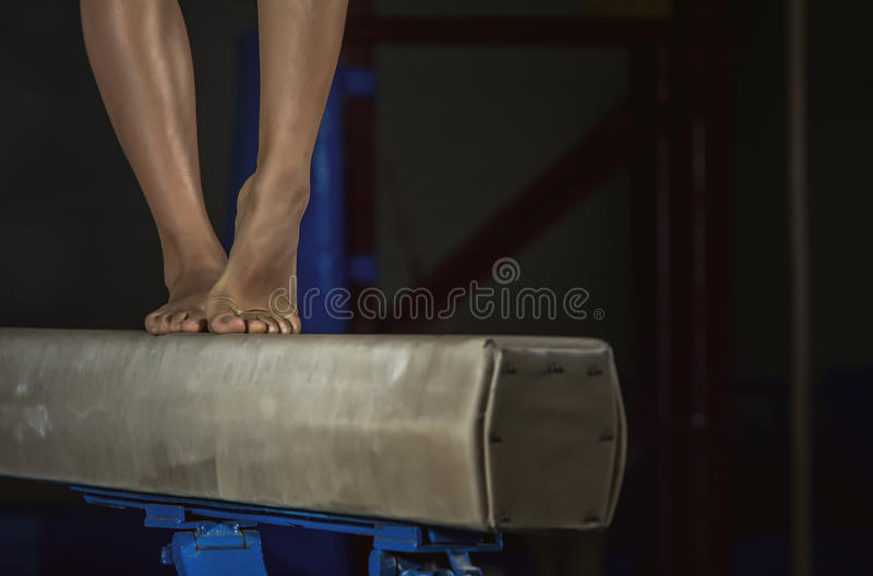 Young gymnast girl Balance Beam stock image