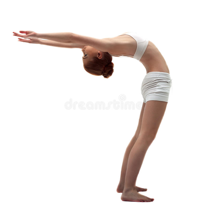 Free Young Gymnast In White Training Costume Royalty Free Stock Photos - 24043398