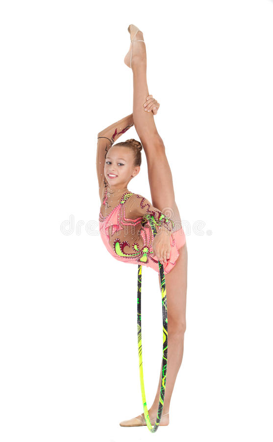 Young gymnast performs with the hoop royalty free stock photography