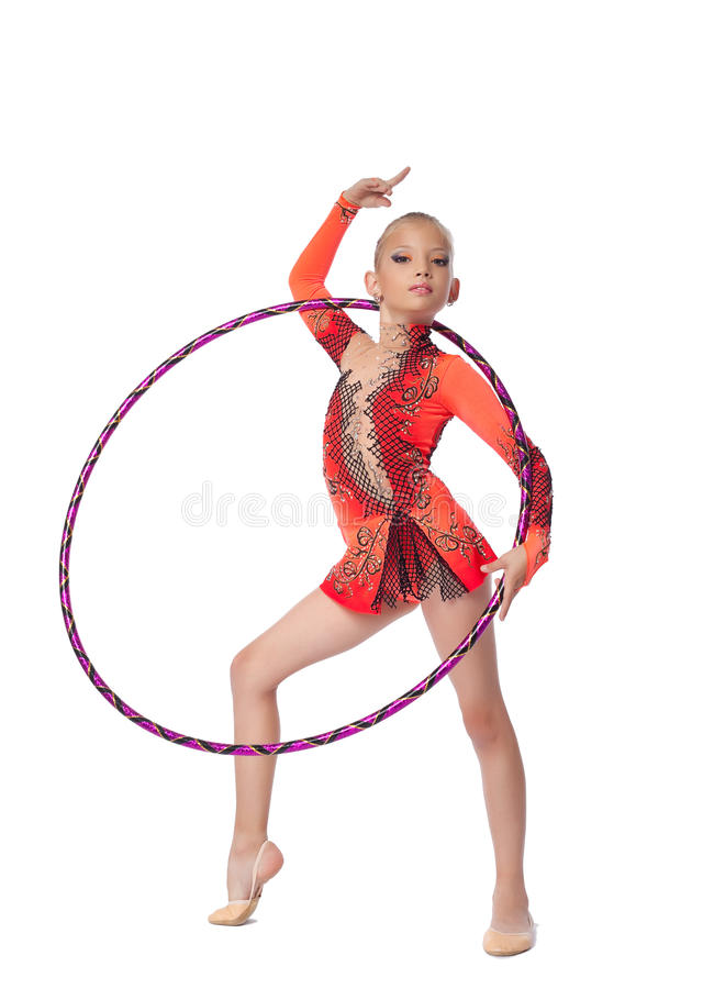 Young Gymnast Stand With Hoop Isolated Stock Image