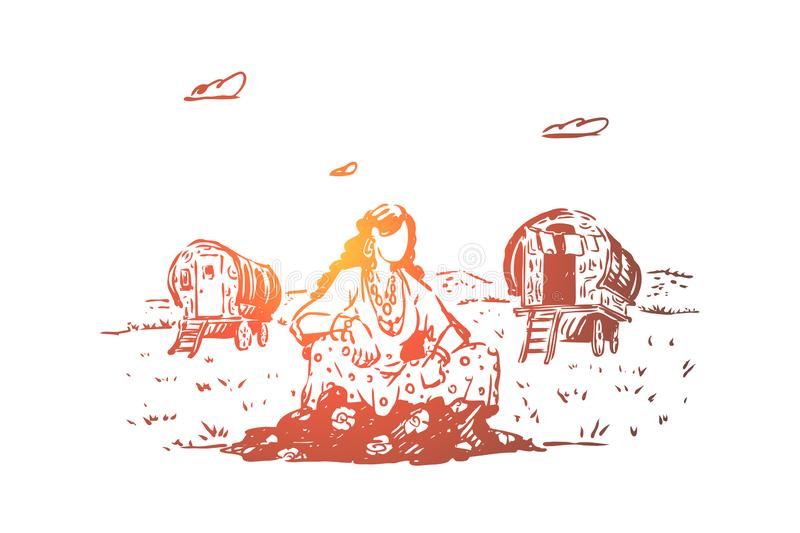 Young gypsy woman sitting in field, caravan on glade, free nation, wagons for traveling, female traveler rest on lawn. Nomad lifestyle, romany culture concept royalty free illustration
