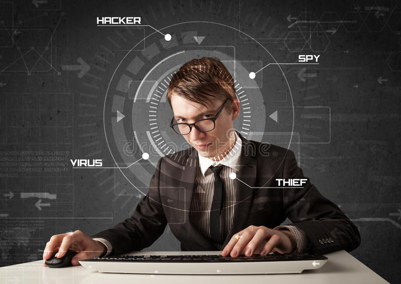 Download Young Hacker In Futuristic Enviroment Hacking Personal Informati Stock Photo - Image: 33469692