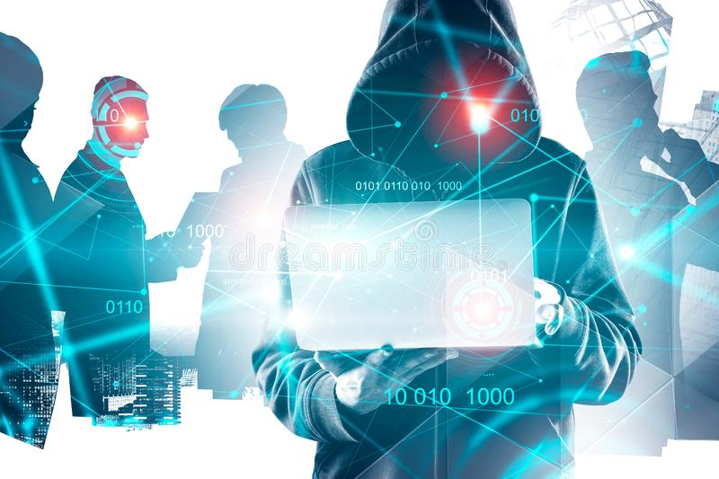 Hacker in hoodie in city, business people and HUD stock images
