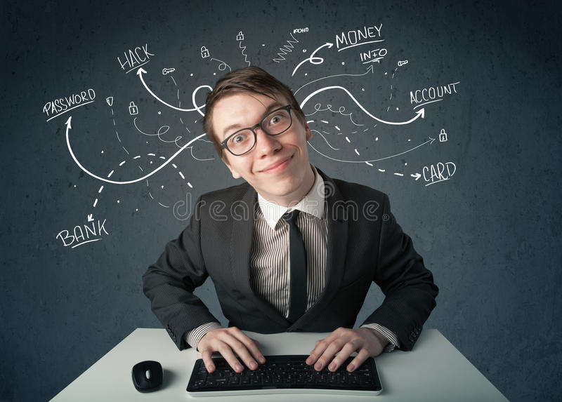 Download Young Hacker With White Drawn Line Thoughts Stock Image - Image: 38305313