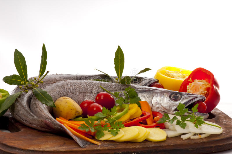 Young hake prepared for cooking with vegetables. royalty free stock images