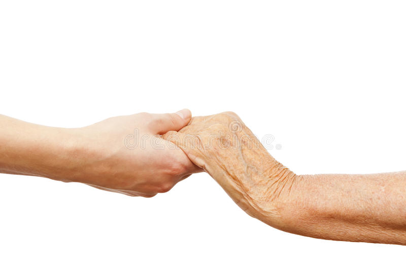 Young hand holding and elder one stock images