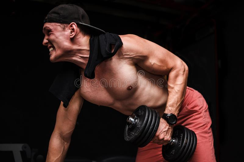 Young handsome adult male doing one-arm dumbbell rows on bench in gym. royalty free stock photo