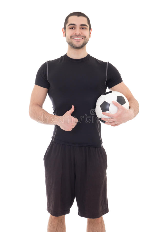 Young handsome arabic man in sportswear with soccer ball isolate royalty free stock images