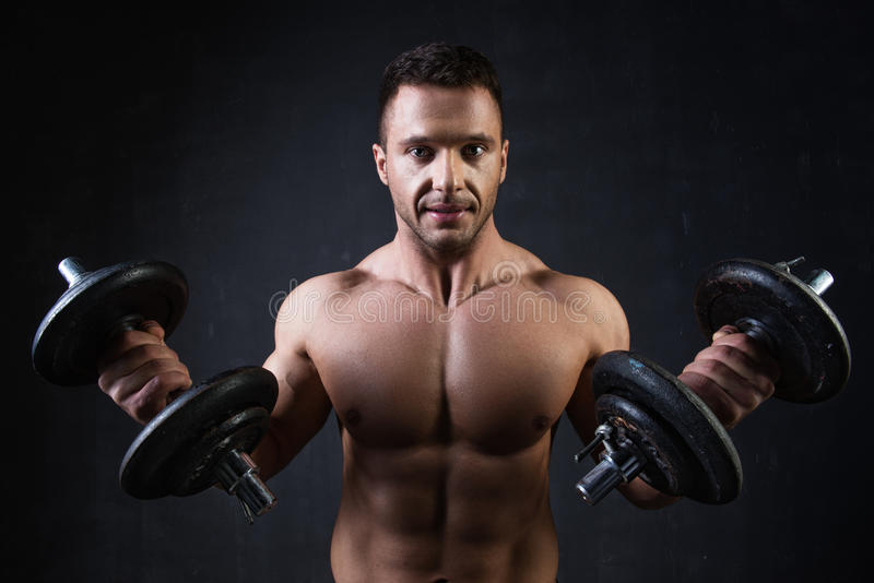 Young handsome athlete royalty free stock photos