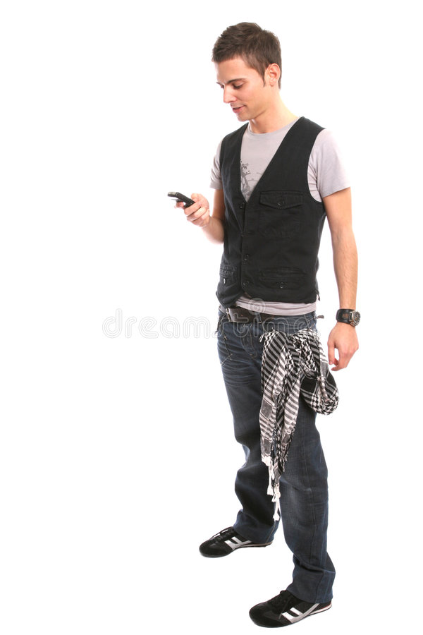 Free Young Handsome Boy Calling On Cellphone Stock Photography - 5439622