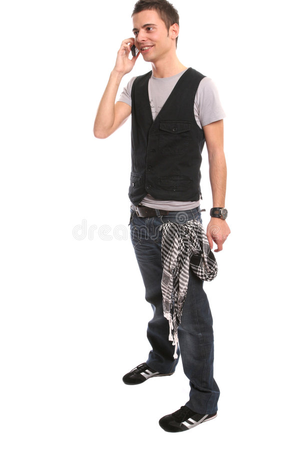 Free Young Handsome Boy Calling On Cellphone Royalty Free Stock Image - 5439626