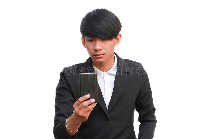 Young handsome businessman hold a phone call on white background royalty free stock images