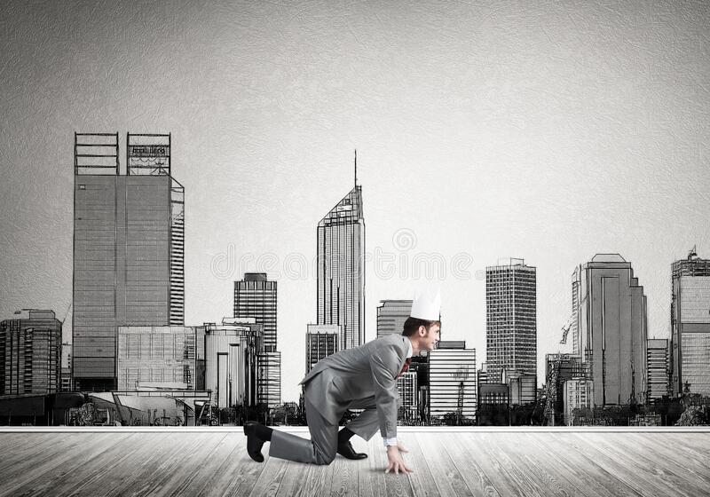 King businessman in elegant suit running and drawn cityscape silhouette at background stock photo