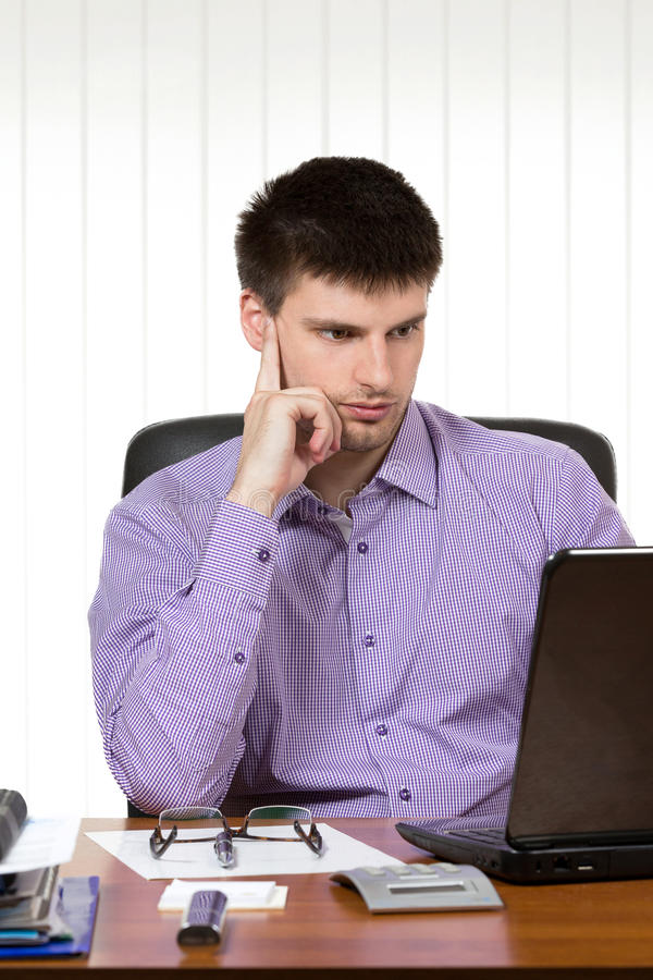 Download Young Handsome Businessman Working On Laptop Stock Image - Image of confidence, employment: 39512749