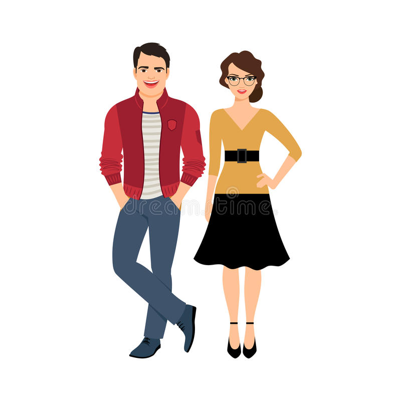 Young handsome couple. Isolated on white background, vector illustration royalty free illustration