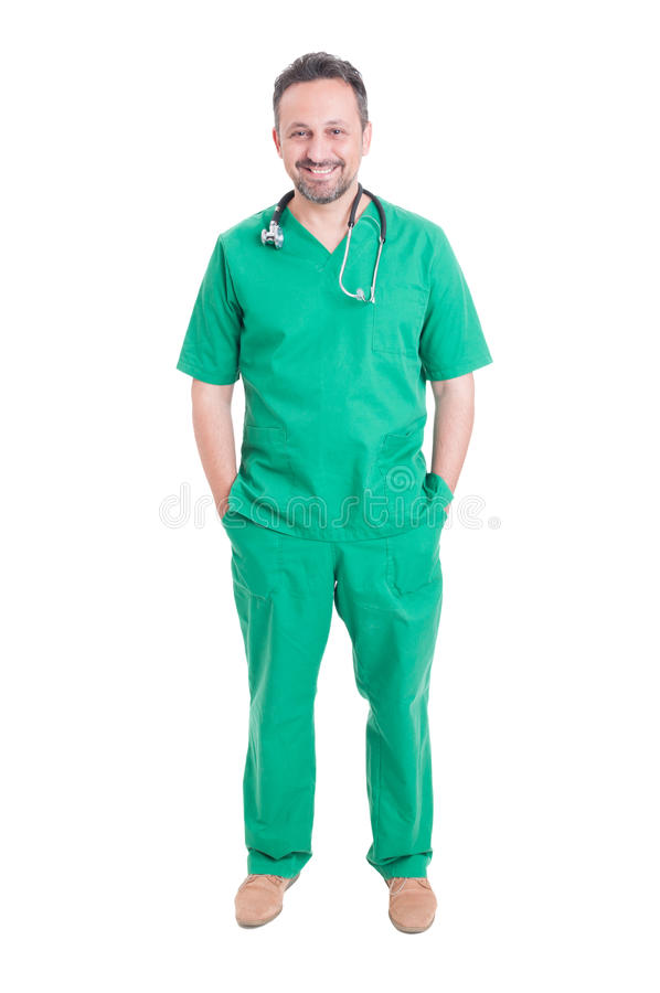Young and handsome doctor posing stock photography