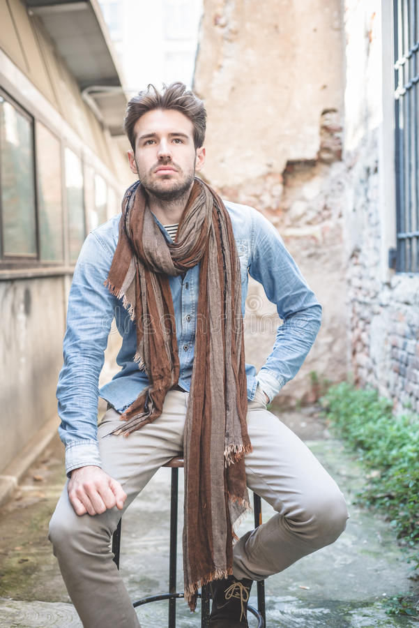 Young handsome fashion model man royalty free stock images