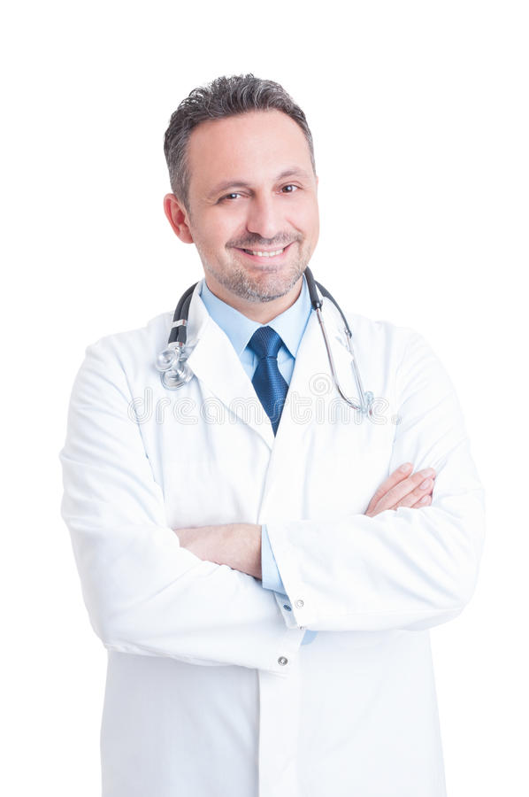 Young handsome and friendly male doctor or medic smiling royalty free stock images
