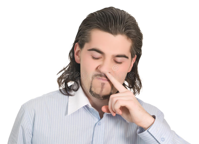 Young handsome guy picks his nose isolated white royalty free stock photos