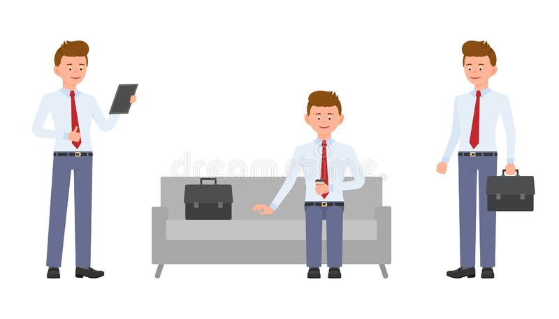 Young, handsome, happy office manager in formal wear standing with tablet, briefcase, crossed hands, sitting on sofa. stock illustration