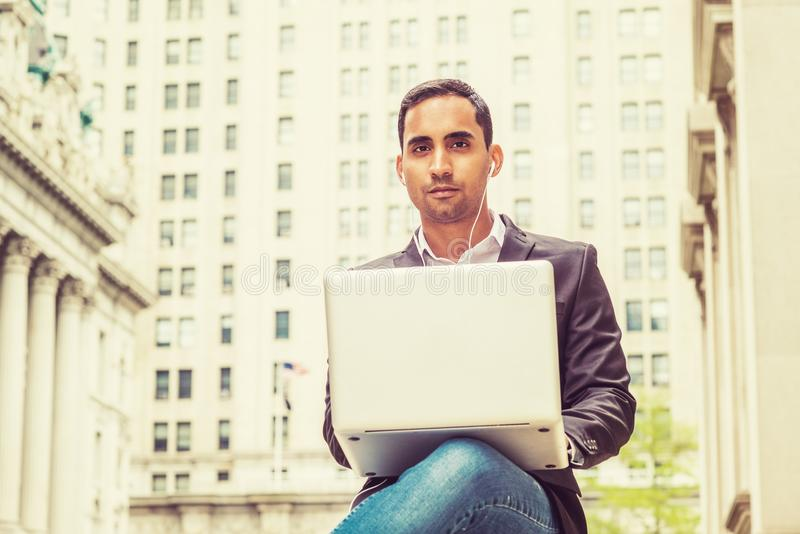 Young Hispanic American college student studying in New York stock photography