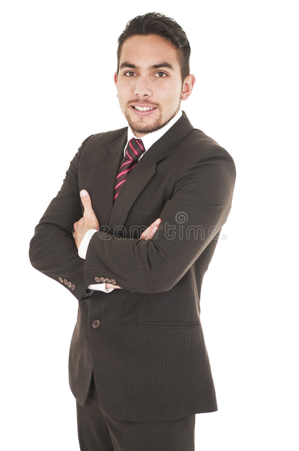 Young handsome hispanic man in a suit stock image