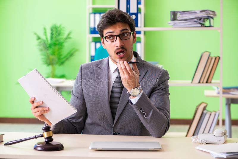 The young handsome lawyer working in the office. Young handsome lawyer working in the office stock image