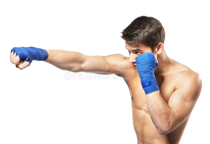 Young handsome male boxer royalty free stock images