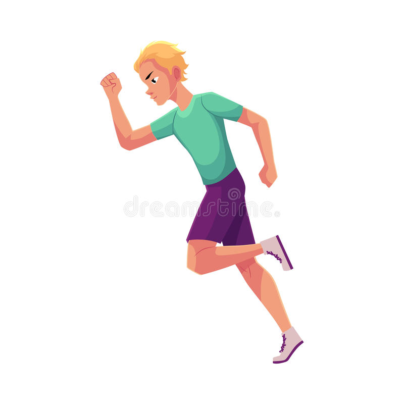Young and handsome male runner, sprinter, jogger. Cartoon vector illustration on white background. Man running, sprinter, track and field, healthy lifestyle stock illustration