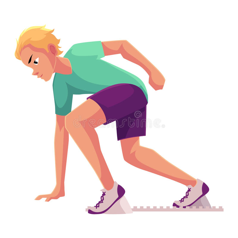Young and handsome male runner, sprinter, jogger ready to start. Cartoon vector illustration isolated on white background. Man running, sprinter, standing on royalty free illustration