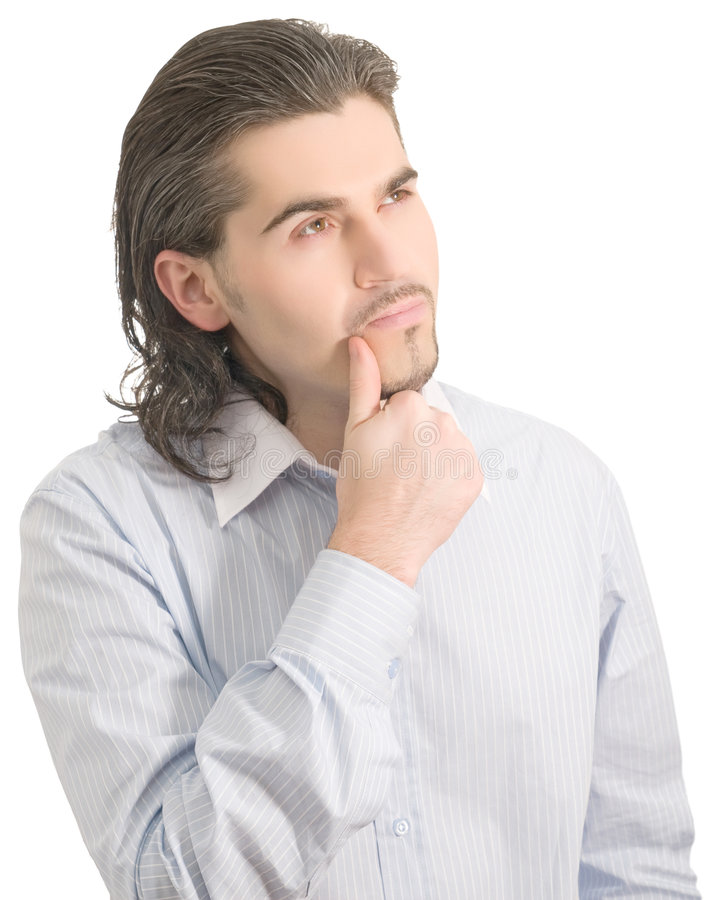 Young handsome male thinks of something isolated royalty free stock photo