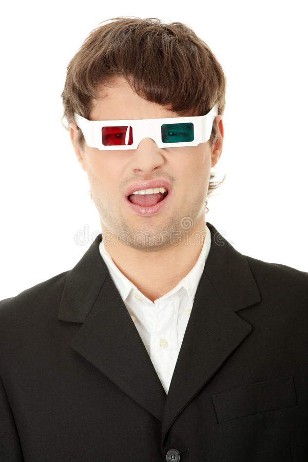 Young Handsome Man In 3d Glasses Stock Photography