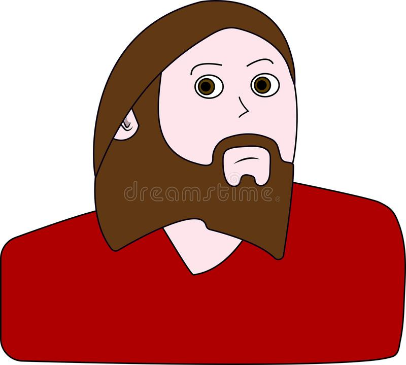 Young handsome man with beard. Portrait of bearded man vector illustration