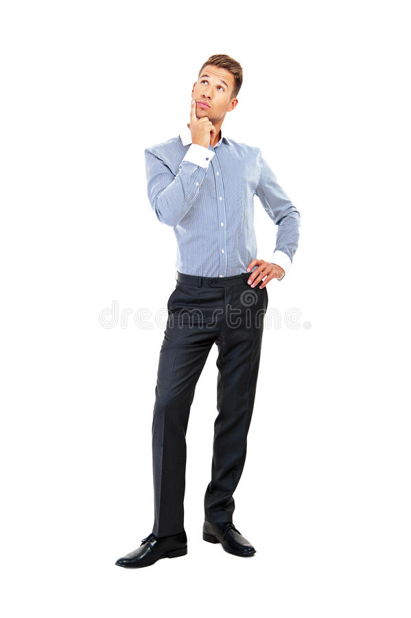 Young Handsome Man In Blue Shirt Looking At Copy-space Thinking Royalty Free Stock Images
