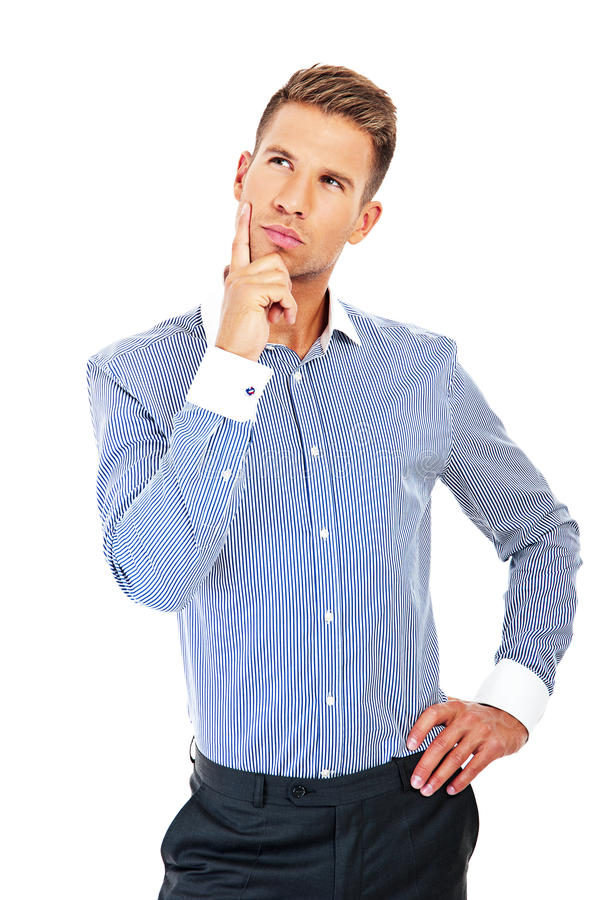 Download Young Handsome Man In Blue Shirt Looking At Copy-space Thinking Stock Photos - Image: 33722083