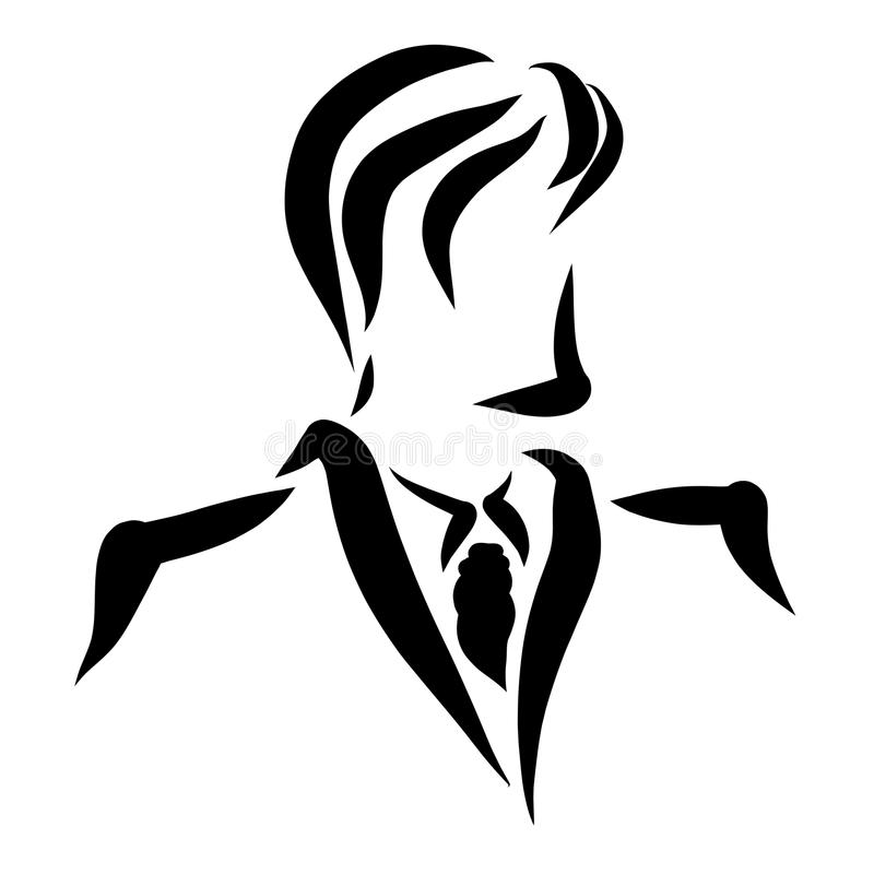 Young handsome man in a classic jacket, with a tie.  vector illustration