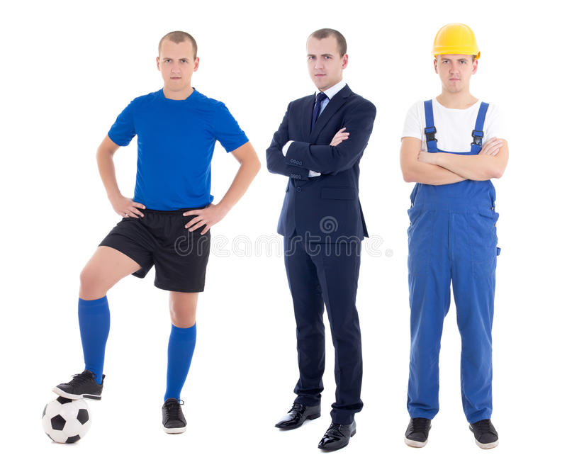 young handsome man in different professions - business man, soccer player and builder isolated on white stock photos