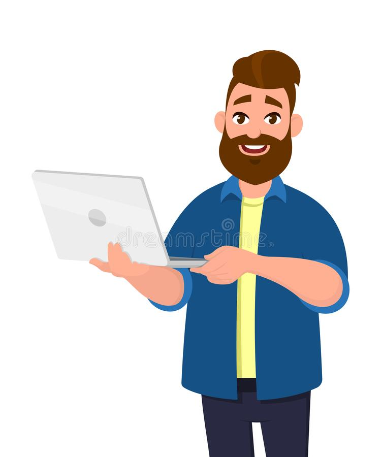 Young handsome man holding laptop computer and smiling while standing. Laptop computer concept illustration. Vector illustration. stock illustration