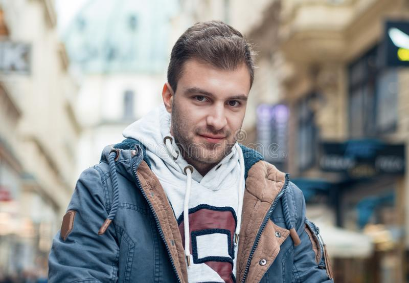 Young handsome man lookig. Gorgeous guy looking at camera, stock photos