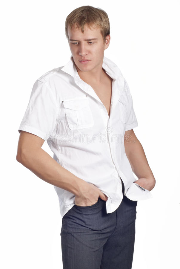 Young Handsome Man Posing In White Shirt Royalty Free Stock Photo